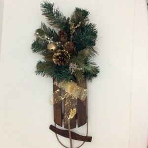 Sled Christmas Decoration Green/Gold